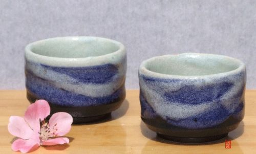 Sake cups - Blue Wave Japanese tactile sake cups X 2